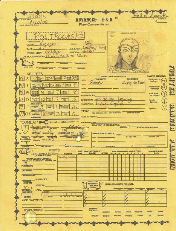 Mark's character sheet for Poltroonski pg1